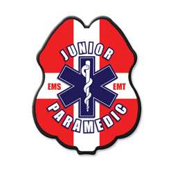 Jr Paramedic Red, White & Blue Plastic Clip-On Badge
