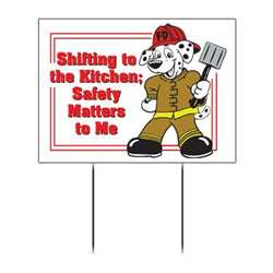 "Kitchen Safety with Dalmatian Custom Yard Sign - 18"" x 22""  kitchen safety, firefighting, fire safety product, fire prevention, full custom banner, custom, vinyl banner, indoor and outdoor use, imprinted"