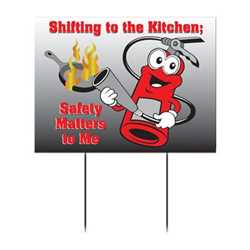 "Kitchen Safety with Fire Extinguisher Yard Sign - 18"" x 22""   kitchen safety, firefighting, fire safety product, fire prevention, yard signs, vinyl banner, indoor and outdoor use, imprinted"