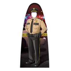 "Male Jr. Police Officer Photo Prop 33.5"" x 74"" police, police officer, cut out, photo prop, male, male police officer, police department, officer, stand up, corrugated plastic, indoor use, outdoor use, custom, imprinted"