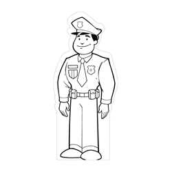 Male Police Officer Color-Me Stand-Out police, colore me, stand out, public safety, educational, police officer