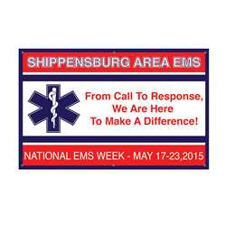 "National EMS Week - Custom Banner 38"" x 60"" firefighting, fire safety product, fire prevention, EMS banner, EMS, custom banner, imprinted, department name, vinyl banner, indoor use, outdoor use, durable"