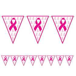 Pink Ribbon Pennant Banner pink ribbon, photo op, pennant banner, health & awareness,