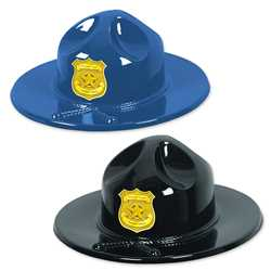 Plastic Trooper Hats w/ Custom Gold Shield police, educational, trooper hat, trooper, custom, imprinted, plastic hat, kids, kids hat, police department, police officer, plastic