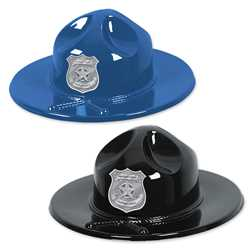 Plastic Trooper Hats w/ Custom Silver Shield police, educational, trooper hat, trooper, custom, imprinted, plastic hat, kids, kids hat, police department, police officer, plastic