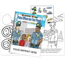 Police Officers Are Your Friends Sticker Book - Imprinted police safety, activity books, coloring books, sticker books, custom sticker books, imprinted coloring book, promotional police coloring books