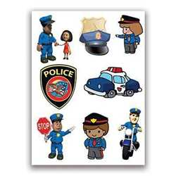 Police Safety Set of Temporary Tattoos  Police, Safety, Police Safety, police car, stop, police hat, motorcycle, police badge, temporary tattoos