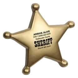 Sheriff Badge Stress Reliever Police, safety product, educational, stress reliever, sheriff stress reliever, imprinted, imprinted badge