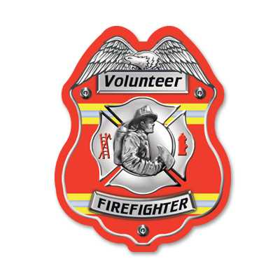 Red Volunteer FF Plastic Decal Badge