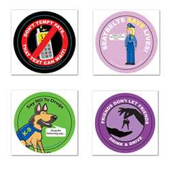 Safety Fun Stickers - Design 1 Police, safety product, educational, safety fun stickers, assorted, assorted design stickers, stickers, police stickers
