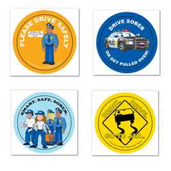 Safety Fun Stickers - Design 3 Police, safety product, educational, safety fun stickers, assorted, assorted design stickers, stickers, police stickers, custom assorted stickers, custom design