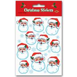 Santa Face Stickers (4 Sheets/Pkg)  Santa, Christmas, children, gifts, shop, snowman, reindeer