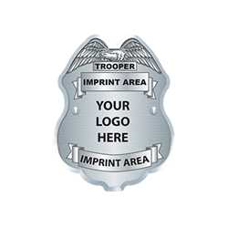 Silver Jr PO Shield w/ Custom Imprint & Logo Paper Police Hat police, educational, police hat, paper hat, kids hat, police department, police officer