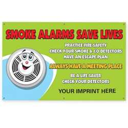 "Smoke Alarms Save Lives- Custom Banner 38"" x 60""    firefighting, fire safety product, fire prevention, vinyl banner, indoor use, outdoor use, banner, imprinted, custom, department name"