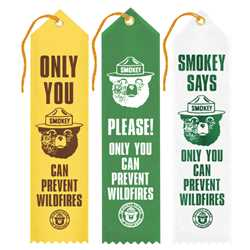 Smokey Bear Award Ribbons firefighting, fire safety product, fire prevention, smokey, smokey bear, award ribbons, ribbons, smokey award ribbons, assorted, assorted design, foil imprint, stock