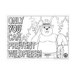 Smokey Bear Color-me Poster firefighting, fire safety product, fire prevention, smokey, smokey bear, color me, color me poster, card stock, poster, smokey color me, smokey poster, color