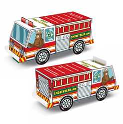 Smokey Bear Paper Fire Truck firefighting, fire safety product, fire prevention, smokey, smokey bear, full color, paper fire truck, paper vehicle,  full color paper truck