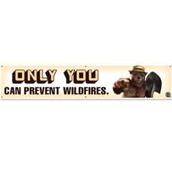 "Smokey Bear Vinyl Banner  - 12"" x 60""  firefighting, fire safety product, fire prevention, smokey, smokey bear, vinyl banner, vinyl, smokey banner, indoor use, outdoor use, durable, visible, stock"