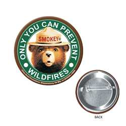 Smokey Button firefighting, fire safety product, fire prevention, smokey, smokey bear, button, smokey button, pin, smokey pin, metal pin, wildfires