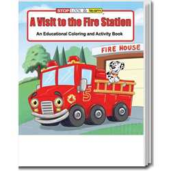 Stock Coloring Book - A Visit to the Fire Station firefighting, fire safety product, fire prevention product, firefighting coloring book, firefighting activity book, fire safety coloring book, fire safety activity book, fire prevention coloring book, fire prevention activity book