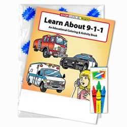 Stock Coloring Book Fun Pack - Learn About 911 firefighting, fire safety product, fire prevention product, firefighting coloring book, firefighting activity book, fire safety coloring book, fire safety activity book, fire prevention coloring book, fire prevention activity book