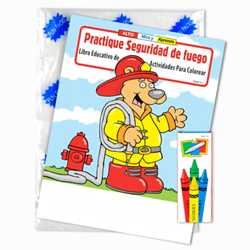 Stock Coloring Book Fun Pack - Practice Fire Safety - Spanish Version firefighting, fire safety product, fire prevention product, firefighting coloring book, firefighting activity book, fire safety coloring book, fire safety activity book, fire prevention coloring book, fire prevention activity book
