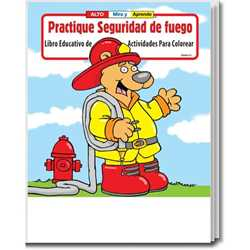 Stock Coloring Book - Practice Fire Safety - Spanish Version firefighting, fire safety product, fire prevention product, firefighting coloring book, firefighting activity book, fire safety coloring book, fire safety activity book, fire prevention coloring book, fire prevention activity book