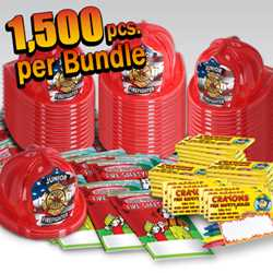 Stock Jr Firefighter Value Bundle - 1500 pcs.  fire prevention, fire hats, coloring books, crayons, value