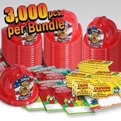 Stock Jr Firefighter Value Bundle - 3000 pcs. fire prevention, fire hats, coloring books, crayons, value