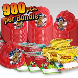 Stock Jr Firefighter Value Bundle - 900 pcs. fire prevention, fire hats, coloring books, crayons, value
