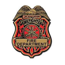 Junior Firefighter Plastic Badge firefighter badge, plastic firefighter badge, kids firefighter badge, junior firefighter badge, fire fighting, fire safety products, fire prevention badges