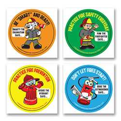 Fire Safety Fun Stickers - Characters firefighting, fire safety product, fire prevention, fire safety stickers, fire prevention stickers