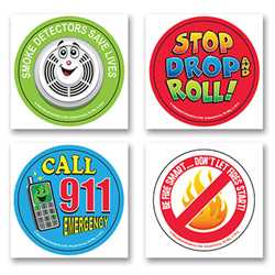 Fire Safety Fun Stickers - Safety Messages firefighting, fire safety product, fire prevention, fire safety stickers, fire prevention stickers, safety message stickers