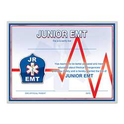 Junior EMT Certificate firefighting, fire safety product, fire prevention, junior emt certificate, junior emt, emt certificate