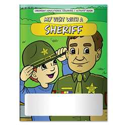 Stock Coloring Book - My Visit with a Sheriff Police, safety product, prevention product, police officer coloring book, police activity book, fire safety coloring book, police safety activity book, prevention coloring book, custom, imprinted coloring book