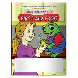 Stock Coloring Book - Meet Freddy the First Aid Frog firefighting, fire safety product, fire prevention product, firefighting coloring book, firefighting activity book, fire safety coloring book, fire safety activity book, fire prevention coloring book, fire prevention activity book