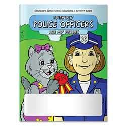 Stock Coloring Book - Friendly Police Officer are My Heroes firefighting, fire safety product, fire prevention product, firefighting coloring book, firefighting activity book, fire safety coloring book, fire safety activity book, fire prevention coloring book, fire prevention activity book
