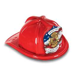 Fire Hat - Custom Patriotic Shield firefighting, fire safety product, fire prevention, plastic fire hats, fire hats, kids fire hats, junior firefighter hat, cheap fire hat, childrens fire hat, red fire hat