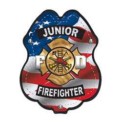 Jr. FF Patriotic Plastic Clip-On Badge firefighter badge, kids firefighter badge, junior firefighter badge, patriotic firefighter badge, fire safety products, fire fighting, fire prevention