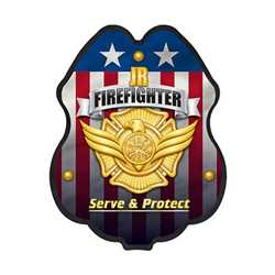 Jr. FF Gold Serve & Protect Plastic Clip-On Badge fire fighting, fire safety product, fire prevention hats, plastic fire badge, fire fighting badge