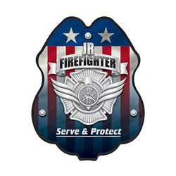 Jr. FF Silver Serve & Protect Plastic Clip-On Badge fire fighting, fire safety product, fire prevention, plastic fire badge, firefighting badge