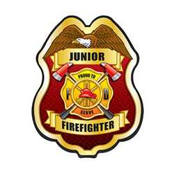 Jr. FF Proud To Serve Gold Plastic Clip-On Badge firefighting, fire safety product, fire prevention product, plastic firefighting badge, plastic fire badge