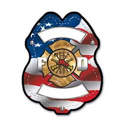 Imprinted Patriotic Plastic Clip-On Badge firefighting, fire safety product, fire prevention, plastic fire badge, firefighting badge