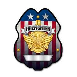 Imprinted Jr. FF Gold Plastic Clip-On Badge firefighting, fire safety product, fire prevention, plastic fire badge, firefighting badge, junior firefighter badge, custom badge
