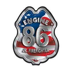 Imprinted Patriotic Engine Number Plastic Clip-On Badge firefighting, fire safety product, fire prevention, plastic fire badge, firefighting badge, patriotic badge, engine number badge, custom badge, custom firefighting badge