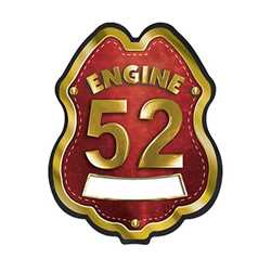 Imprinted Red&Gold Engine Number/Text Plastic Clip-On Badge firefighting, fire safety product, fire prevention, plastic fire badge, firefighting badge, custom badge, custom firefighter badge