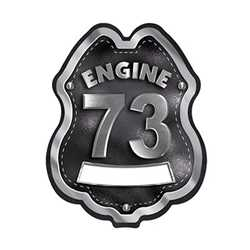 Imprinted Black&Silver Engine Number/Text Plastic Clip-On Badge firefighting, fire safety product, fire prevention, plastic fire badge, firefighting badge, custom badge, custom firefighter badge, engine number badge