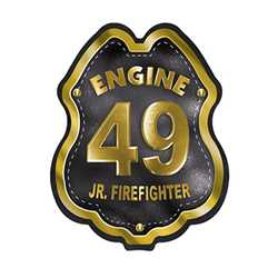 Imprinted Black&Gold Engine Number Plastic Clip-On Badge firefighting, fire safety product, fire prevention, plastic fire badge, firefighting badge, custom badge, custom firefighter badge, engine number badge
