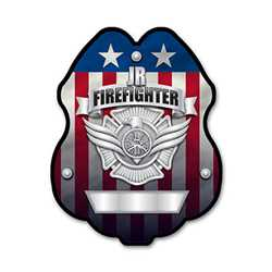 Imprinted Jr. FF Silver Plastic Clip-On Badge firefighting, fire safety product, fire prevention, plastic fire badge, firefighting badge, junior firefighter badge, custom badge, custom firefighting badge