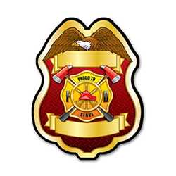 Imprinted Proud To Serve Gold Plastic Clip-On Badge firefighting, fire safety product, fire prevention, plastic fire badge, firefighting badge